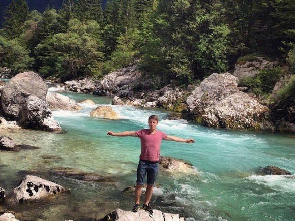 The turquoise waters of the Soca River in Slovenia