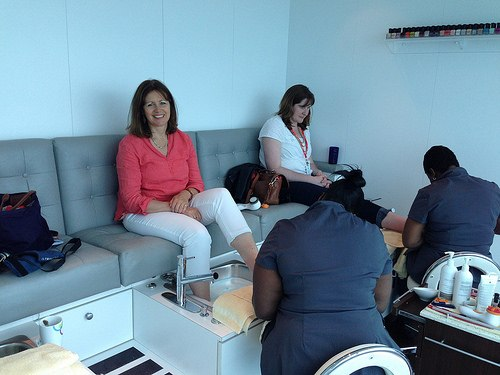 Having a pedicure on Celebrity Eclipse Photo: Heatheronhertravels.com