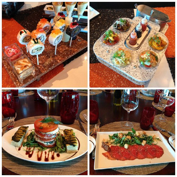 Top: Asian Fusion small dishes in Qisine, Bottom: Tuscan Grille Photo: Heatheronhertravels.com