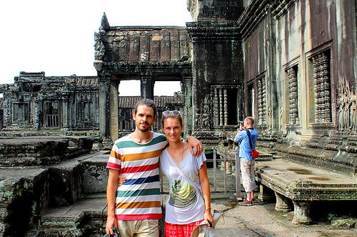 Illia and Nastia at Anghor, Cambodia