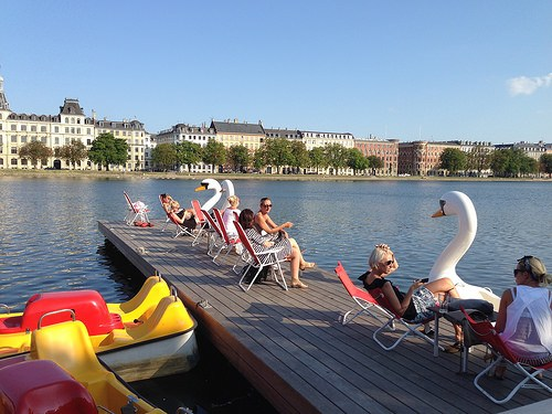 Sitting by the Copenhagen Lakes at KaffeSalonen Photo: Heatheronhertravels.com