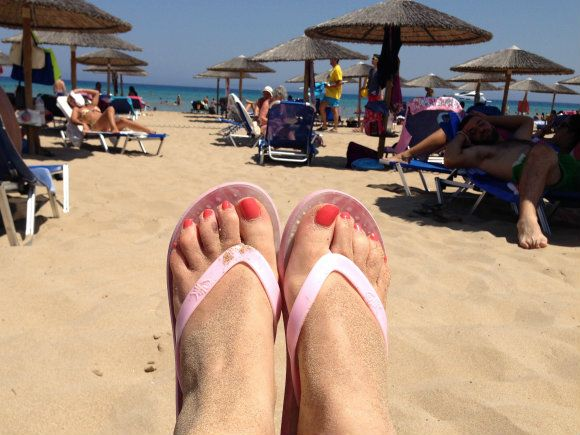My Flopz on the beach in Zakynthos - that sand was hot! Photo: Heatheronhertravels.com