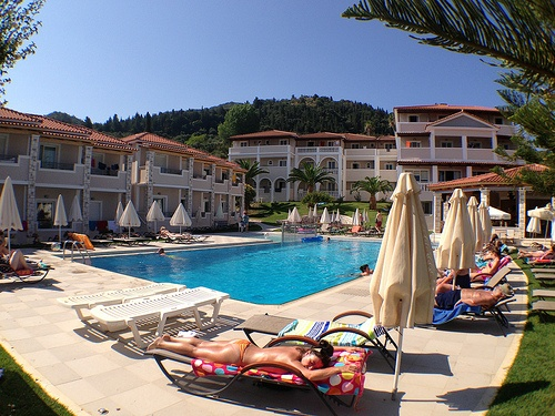The pool's lovely at Windmill Hotel in Zakynthos but the Greeks prefer the beach Photo: Heatheronhertravels.com