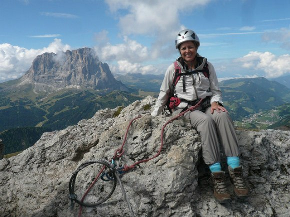 Made it to the top of the Piccola Cir Via Ferrata Photo: Heatheronhertravels.com