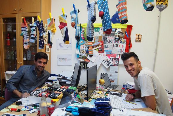 Robert Larcher and Daniel Kaneider, founders of WAMs Socks in Bolzano, South Tyrol