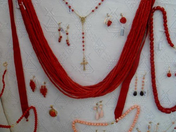 Coral jewellery on sale in Alghero, Sardinia