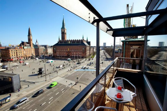 View from The Square Hotel, Copenhagen over the City Hall Square Photo: thesquarecopenhagen.com