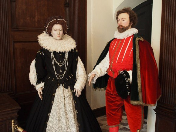 Figures of Sir Francis Drake and Queen Elizabeth I at Buckland Abbey Photo: Heatheronhertravels