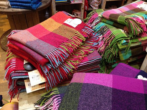 Checked woollen throws at Avoca in Dublin Photo: Heatheronhertravels.com