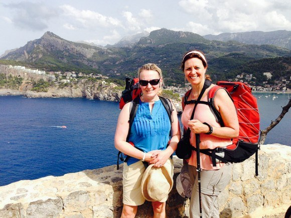 Heather and Julia wlaking the dry stone route in Mallorca Photo: Heatheronhertravels.com