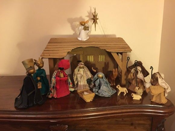 We bought this crib many years ago at a craft market and bring it out every Christmas