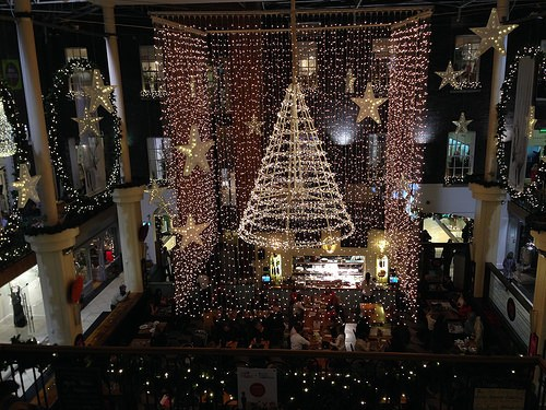 Christmas lights at the Powerscourt Centre in Dublin Photo: Heatheronhertravels.com