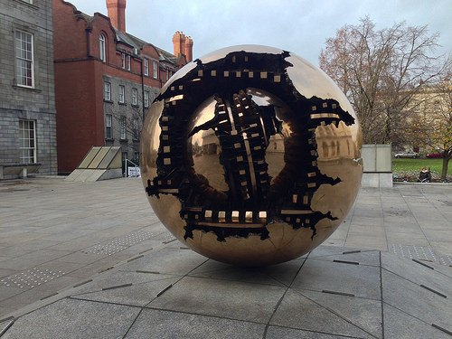 Sphere within a Sphere by Arnaldo Pomodor at Trinity College, Dublin Photo: Heatheronhertravels.com