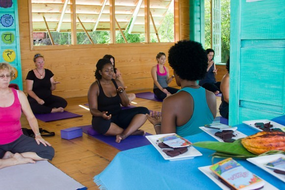 Chocolate Yoga classes at the Grenada Chocolate Festival