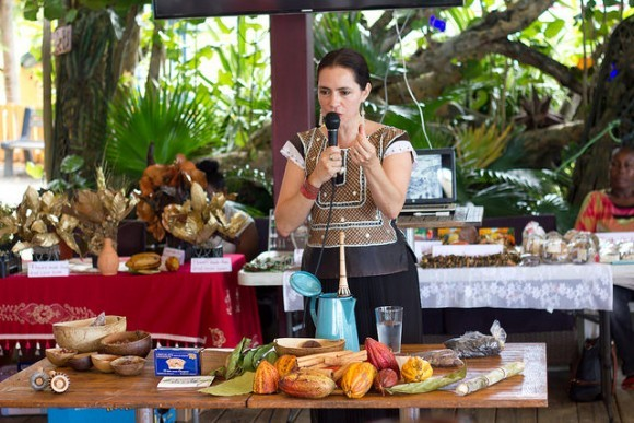 A cookery lesson at the Grenada Chocolate Festival