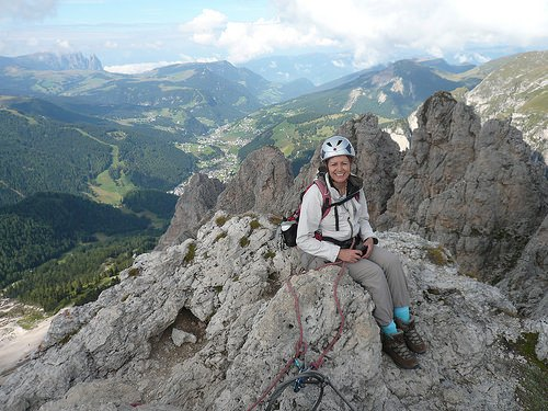 Climbing a Via Ferrata in South Tyrol, Italy Photo: Heatheronhertravels.com