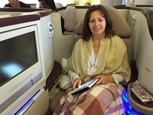 Heather flies Premiere class on Jet Airways from Mumbai to London Photo: Heatheronhertravels.com