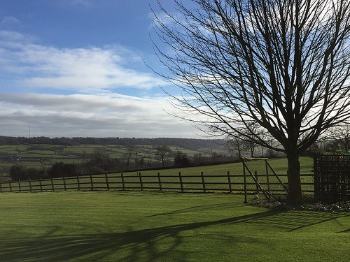 Morning view over the valley at Red Doors Farm in Devon Photo: Heatheronhertravels.com