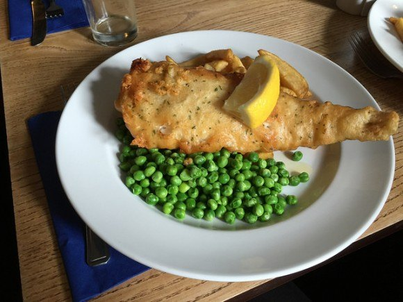 Fish and Chips at the Plume of Feathers in Portscatho, Cornwall Photo: Heatheronhertravels.com