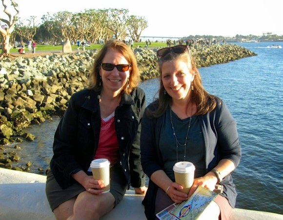 Stopping for coffee at Seaport Village, San Diego