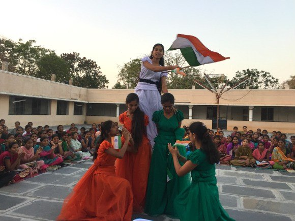 Girls at St Anne's school Ananthapur dance a patriotic Indian dance Photo: Heatheronhertravels.com