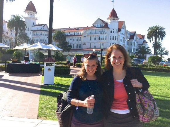 Susan and friend Cherie at Hotel del Coronado in San Diego
