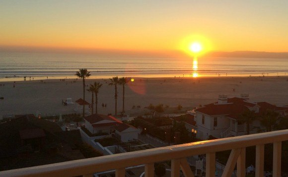 A sunset from the balcony of our full ocean-view room at Hotel del Coronado