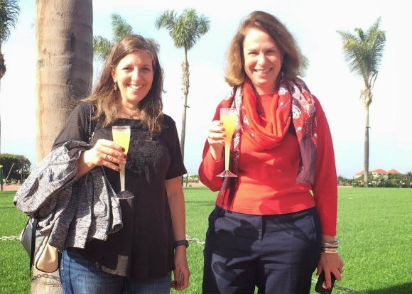 Susan and Cherie, toasting a return to Hotel del Coronado with complimentary Mimosas from the Spa at the Del