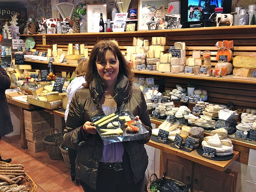 Trying the cheeses in Marche d'aligre, Paris Photo: Heatheronhertravels.com
