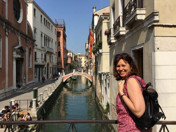 Heather wearing the Sparano leather backpack from Maxwell Scott Bags in Venice Photo: Heatheronhertravels.com
