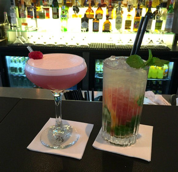 Clover Club and Grapefruit Smash cocktails at Kurhotel Skodsborg Photo: Heatheronhertravels.com