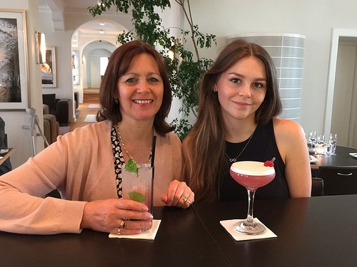 Heather and Sophie Anne enjoy a cocktail at Kurhotel Skodsborg Photo: Heatheronhertravels.com