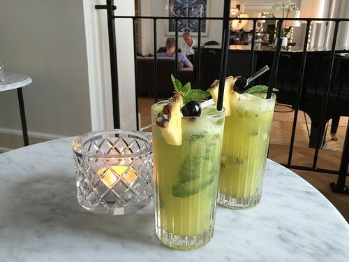 Healthy juice cocktails at Kurhotel Skodsborg, Copenhagen Photo: Heatheronhertravels.com