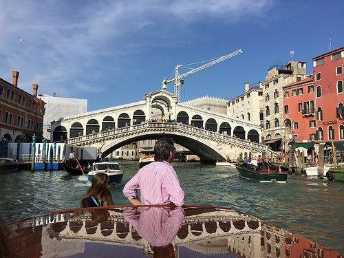 Passing the Rialto bridge on our Walks of Italy Boat Tour Photo: Heatheronhertravels.com