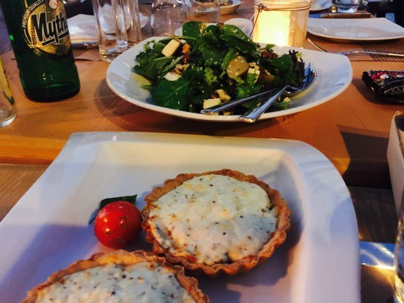 Goats cheese tart and salad with pear and walnuts at Anadalis Photo: Heatheronhertravels.com