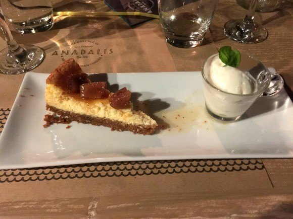 Greek cheesecake with Kaimaki ice cream at Anadalis Photo: Heatheronhertravels.com