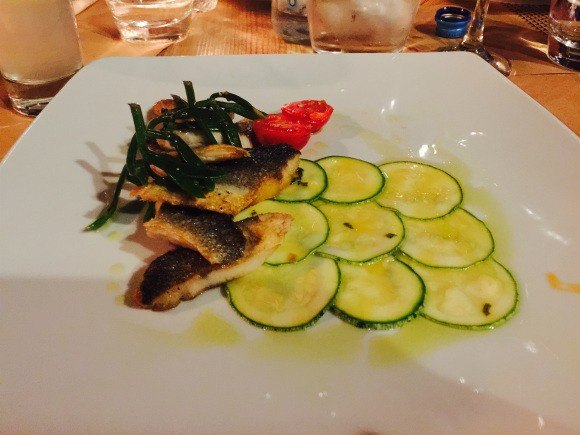Sea Bass with courgette salad and Kritama at Anatalis, Zakynthos Photo: Heatheronhertravels.com