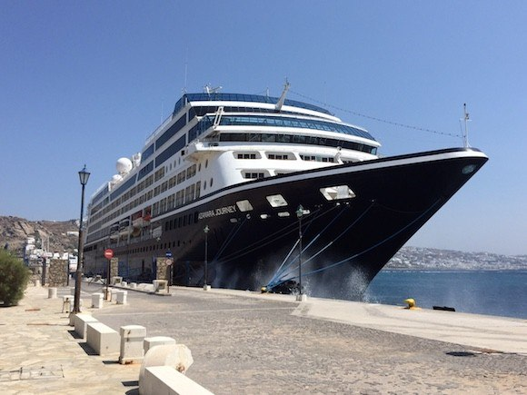 Azamara Journey at Mykonos, Greece Photo: Heatheronhertravels.com