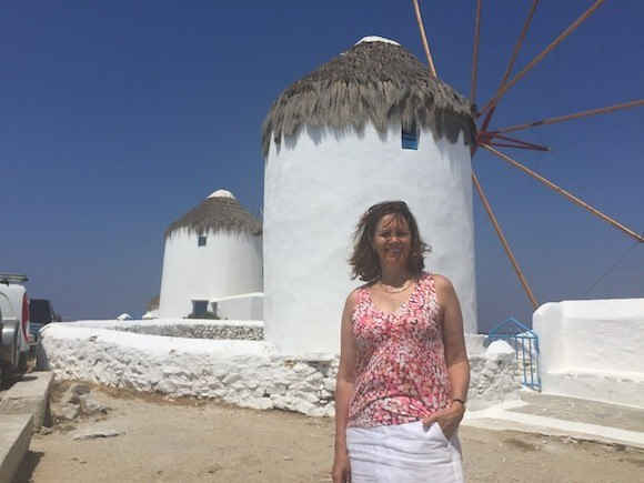 Heather at the Windmills of Mykonos, Greece Photo: Heatheronhertravels.com