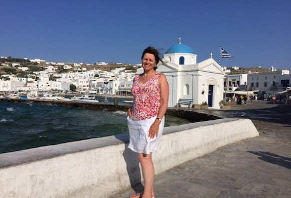 Heather in the Harbour of Mykonos, Greece Photo: Heatheronhertravels.com