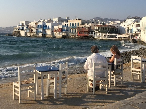 Evening View of Little Venice in Mykonos, Greece Photo: Heatheronhertravels.com