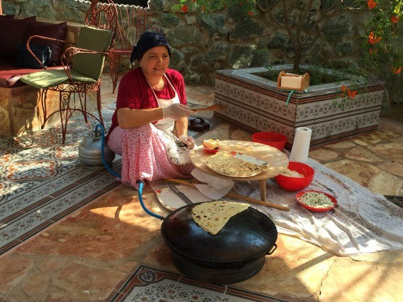The cook prepares Gozleme for us in Turkey Photo: Heatheronhertravels.com