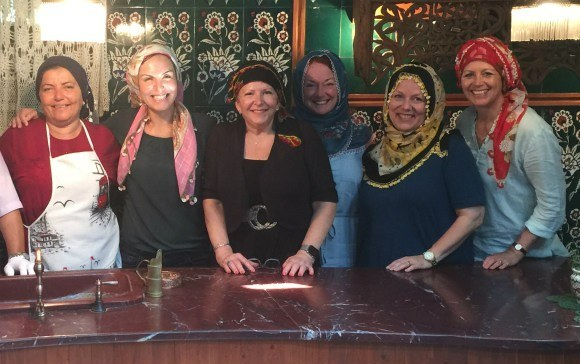 The ladies try on headscarves, Turkish style Photo: Heatheronhertravels.com