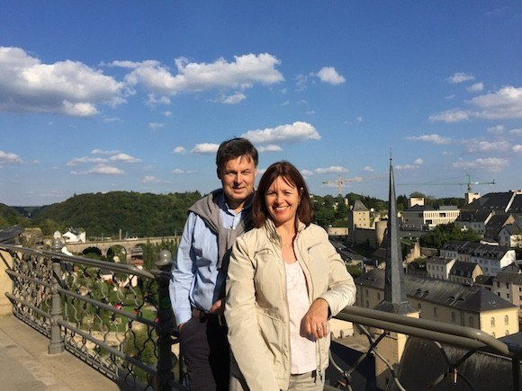 Heather and Guy Overlooking the Petrusse Valley Luxembourg City Photo: Heatheronhertravels.com