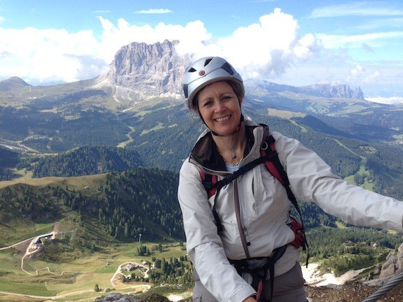 Climbing the Piccolo Cir Via Ferrata in Val Gardena South Tyrol Photo: Heatheronhertravels.com
