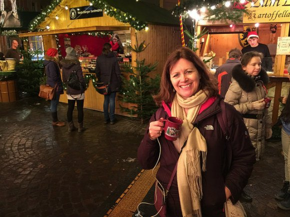 Drinking Gluhwein in the Christmas markets in Heidelberg Photo: Heatheronhertravels.com