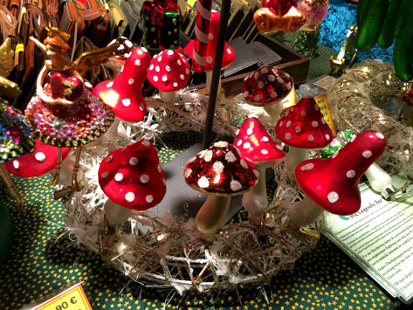 Mushroom Christmas decorations in the Neuberg Abbey Market Photo: Heatheronhertravels.com