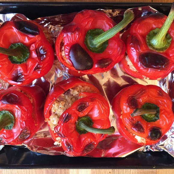 Red peppers stuffed with jewelled Pilav from the Traveller's Table Photo: Heatheronhertravels.com