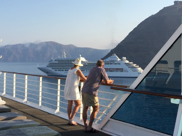 Arriving in Santorini with Azamara Club Cruises Photo: Heatheronhertravels.com