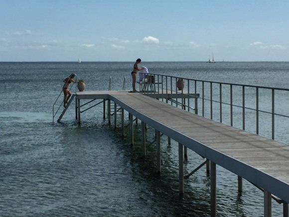 Bathers at the jetty at Kurhotel Skodsborg Photo: Heatheronhertravels.com
